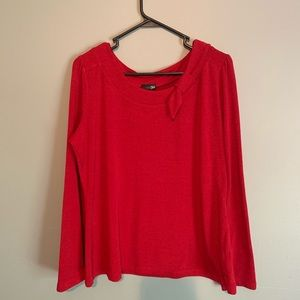 Deep red top with bow accent